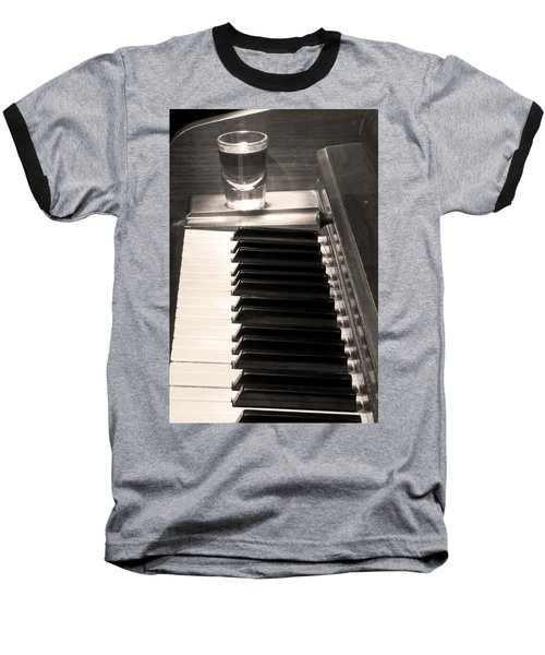 A Shot Of Bourbon Whiskey And The Bw Piano Ivory Keys In Sepia Baseball T-Shirt