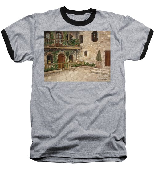 Greek Courtyard - Agiou Stefanou Monastery -balcony Baseball T-Shirt