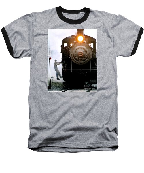 All Aboard The Number 40 At New Hope Pennsylvania Train Terminal Baseball T-Shirt by Michael Hoard