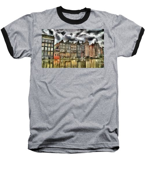 Baseball T-Shirt featuring the painting  Amsterdam Water Canals by Georgi Dimitrov