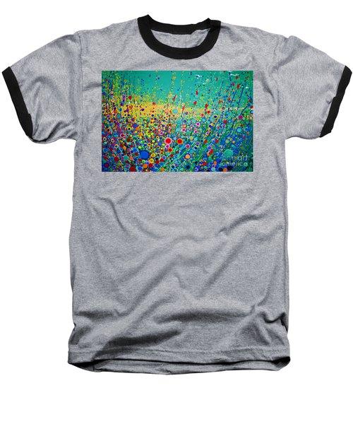 Colorful Flowerscape Baseball T-Shirt by Maja Sokolowska
