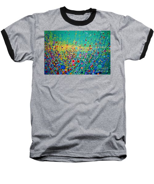 Colorful Flowerscape Baseball T-Shirt