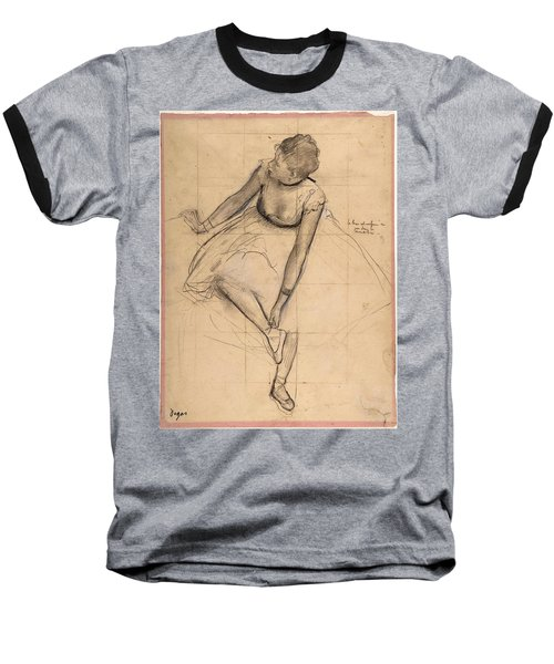 Dancer Adjusting Her Slipper Baseball T-Shirt by Edgar Degas