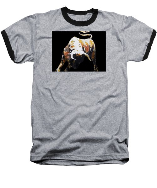 Fight Bull In Black Baseball T-Shirt by J- J- Espinoza