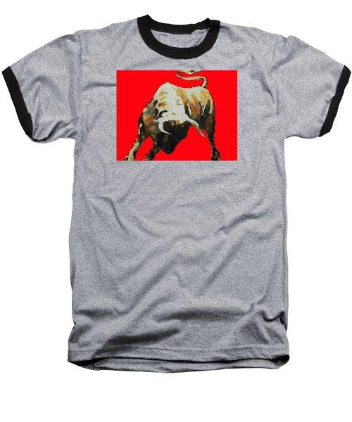 Fight Bull In Red Baseball T-Shirt by J- J- Espinoza