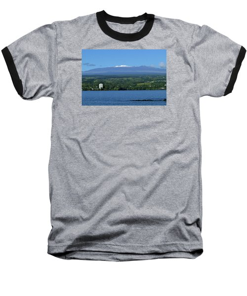 Baseball T-Shirt featuring the photograph  Hawaii's Snow Above Hilo Bay Hawaii by Lehua Pekelo-Stearns