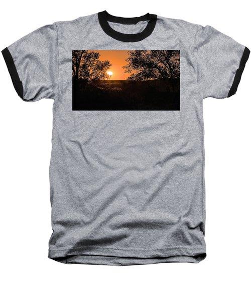 Hayfield At Night Baseball T-Shirt