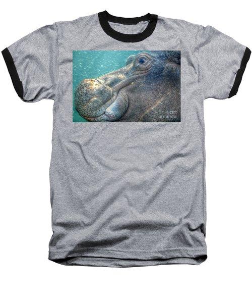 Hippopotamus Smiling Underwater  Baseball T-Shirt