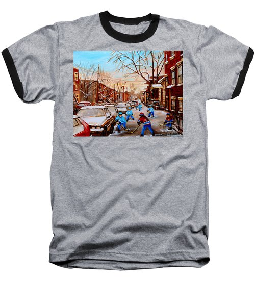 Hockey Art- Verdun Street Scene - Paintings Of Montreal Baseball T-Shirt