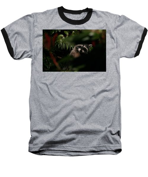 Baseball T-Shirt featuring the photograph  I Can See You  Mr. Raccoon by Kym Backland