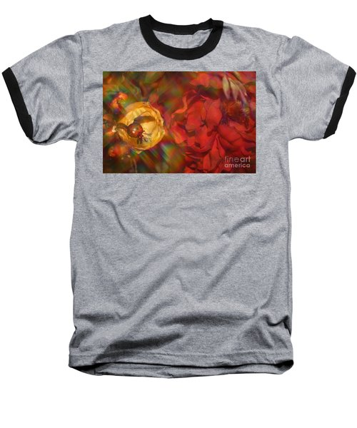 Baseball T-Shirt featuring the photograph  Impressionistic Bouquet Of Red Flowers by Dora Sofia Caputo Photographic Art and Design
