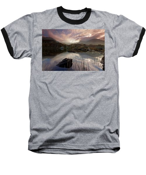 Llyn Ogwen Sunset Baseball T-Shirt by Beverly Cash