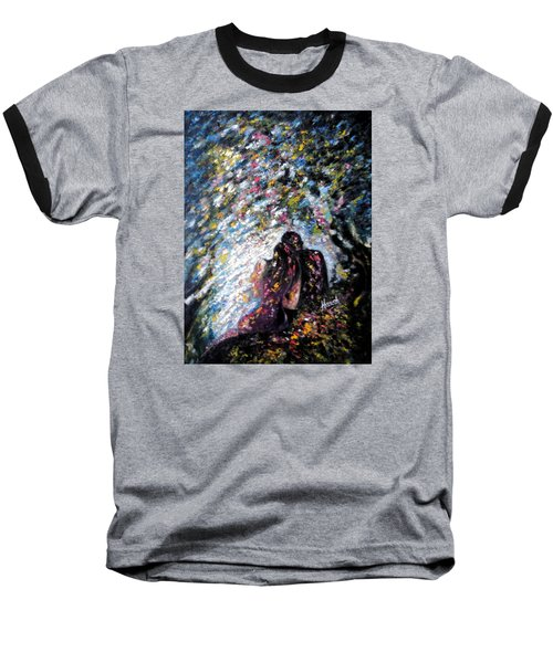 Baseball T-Shirt featuring the painting  Love In Niagara Fall by Harsh Malik