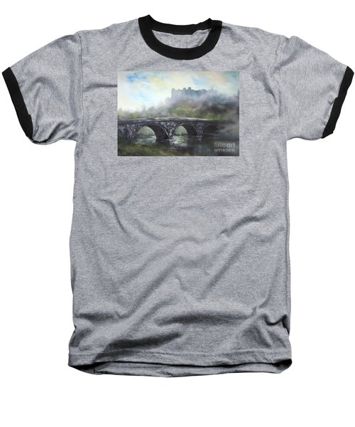 Baseball T-Shirt featuring the painting  Ludlow Castle In A Mist by Jean Walker