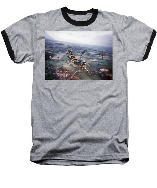 P47- D-day Train Busters Baseball T-Shirt by Pat Speirs