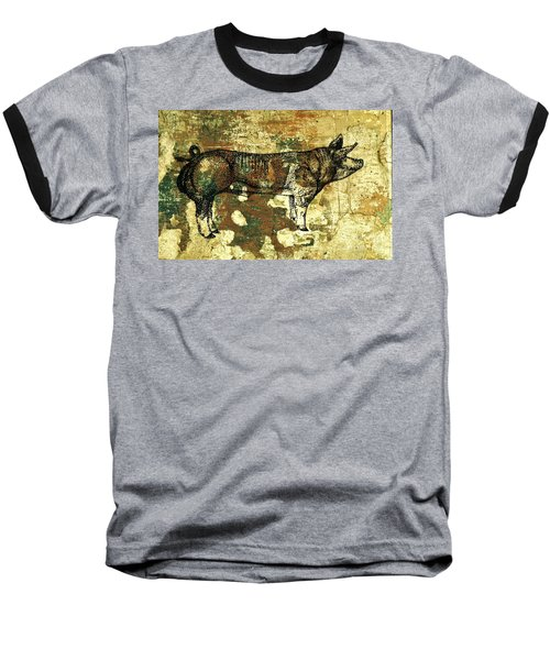 Baseball T-Shirt featuring the photograph  German Pietrain Boar 27 by Larry Campbell