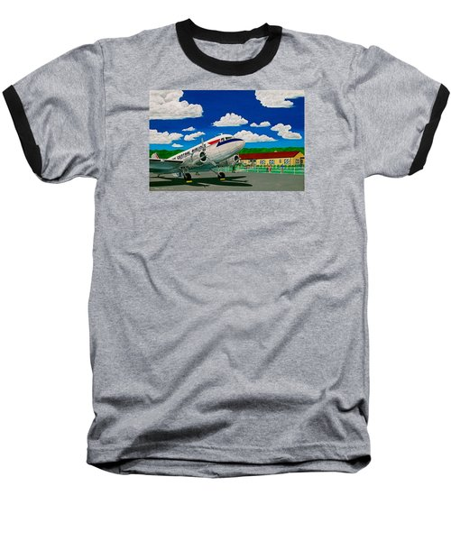 Portsmouth Ohio Airport And Lake Central Airlines Baseball T-Shirt by Frank Hunter