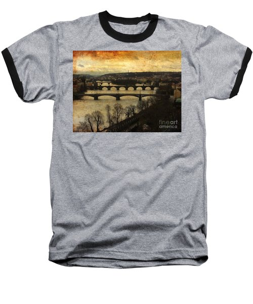 Vintage Prague Vltava River 1 Baseball T-Shirt