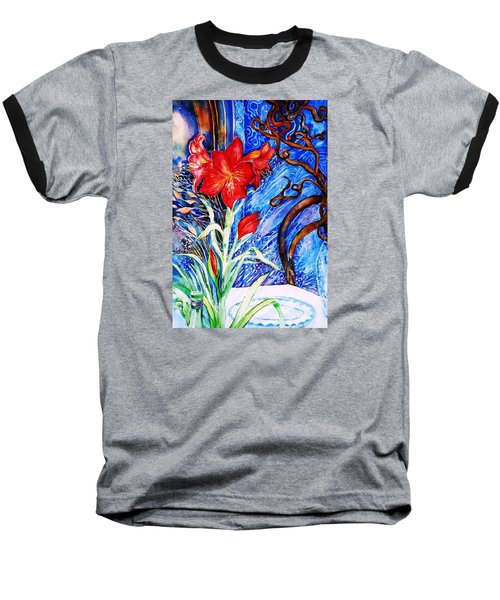 Baseball T-Shirt featuring the painting  Red Amaryllis  by Trudi Doyle