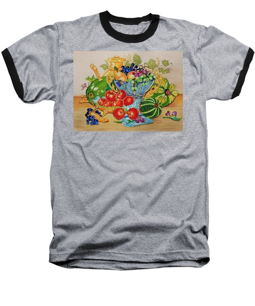 Baseball T-Shirt featuring the painting  Red Apples And  Grapes Oil Painting by Johanna Bruwer