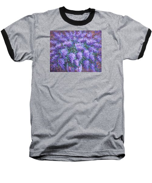 Baseball T-Shirt featuring the painting  Scented Lilacs Bouquet by Natalie Holland