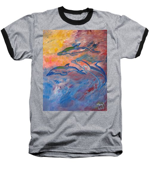 Baseball T-Shirt featuring the painting  Soaring Dolphins by Meryl Goudey