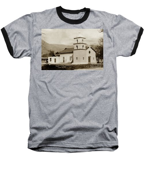 Baseball T-Shirt featuring the photograph  St. Thomas Aquinas Catholic Church  Ojai Cal 1920 by California Views Mr Pat Hathaway Archives