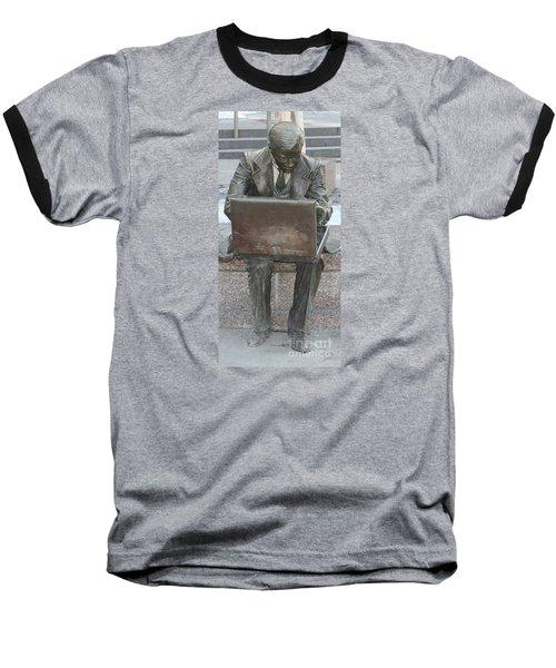 Wall Street Memorial Statue Baseball T-Shirt by John Telfer