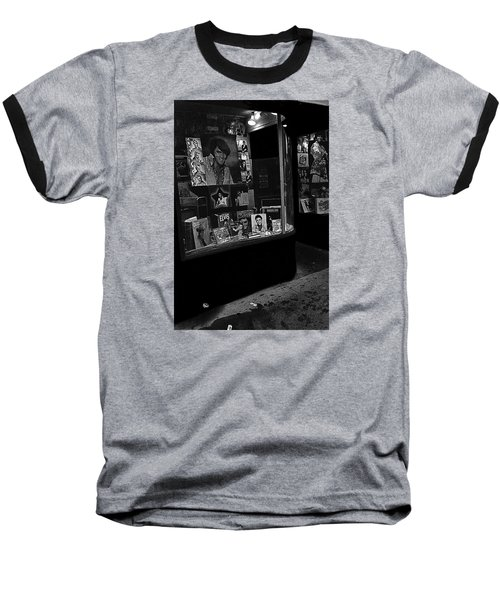 Baseball T-Shirt featuring the photograph  Window Display Night Of Elvis Presley's Death Recordland Portland Maine  1977 by David Lee Guss