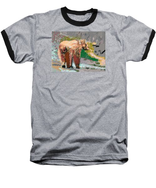 081914 Pastel Painting Grizzly Bear Baseball T-Shirt by Garland Oldham