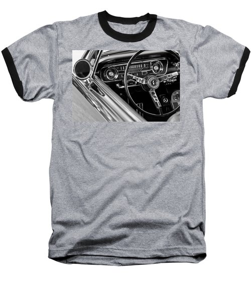 1965 Shelby Prototype Ford Mustang Steering Wheel Baseball T-Shirt by Jill Reger