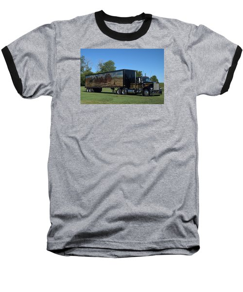 Smokey And The Bandit Tribute 1973 Kenworth W900 Black And Gold Semi Truck Baseball T-Shirt by Tim McCullough