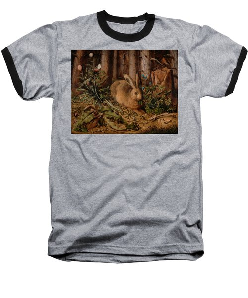 A Hare In The Forest Baseball T-Shirt by Hans Hoffmann