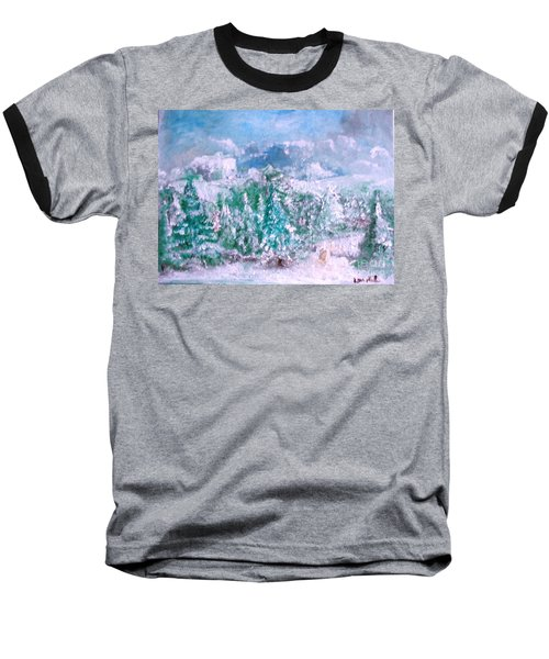 Baseball T-Shirt featuring the painting A Natural Christmas by Laurie L