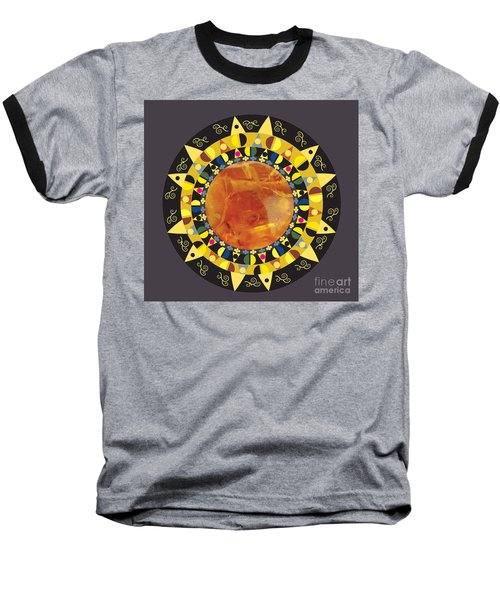 Baseball T-Shirt featuring the digital art Amber Mandala by Kim Prowse