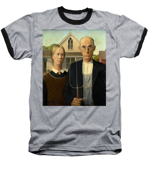 American Gothic Baseball T-Shirt by Grant Wood