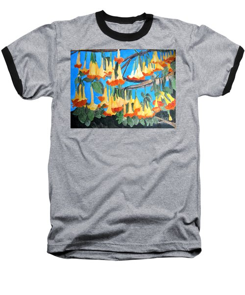 Baseball T-Shirt featuring the painting Angel Trumpets by Sandy McIntire
