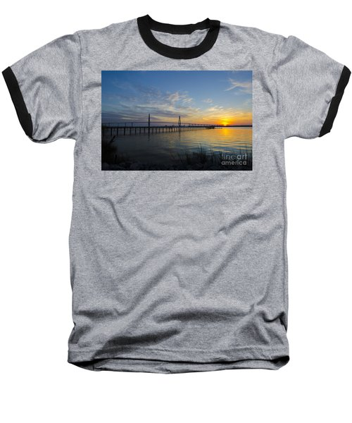 Baseball T-Shirt featuring the photograph Sunset Over The Charleston Waters by Dale Powell
