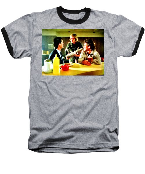 Baseball T-Shirt featuring the painting Ask It by Luis Ludzska