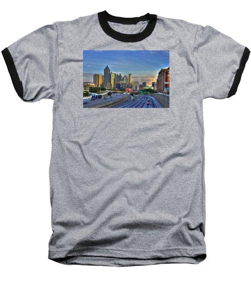 Atlanta Sunset Reflections Baseball T-Shirt by Reid Callaway