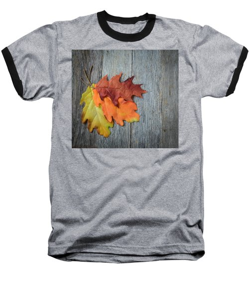 Autumn Leaves On Rustic Wooden Background Baseball T-Shirt