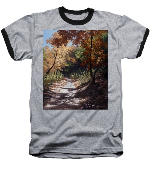 Autumn Trails Baseball T-Shirt by Kyle Wood