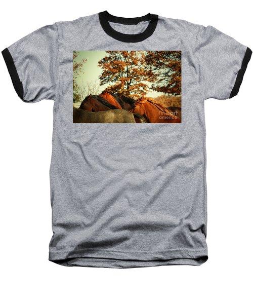 Autumn Wild Horses Baseball T-Shirt