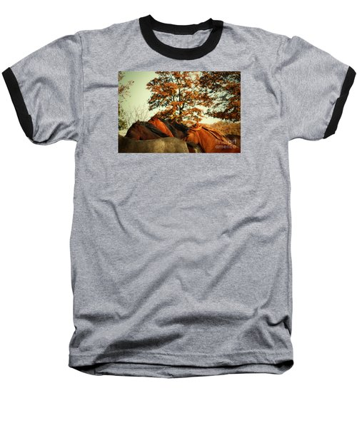Autumn Wild Horses Baseball T-Shirt