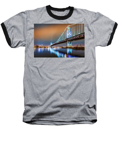 Ben Franklin Bridge And Philadelphia Skyline By Night Baseball T-Shirt