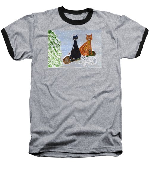 Ben's Cats In The Snow Baseball T-Shirt by Veronica Rickard