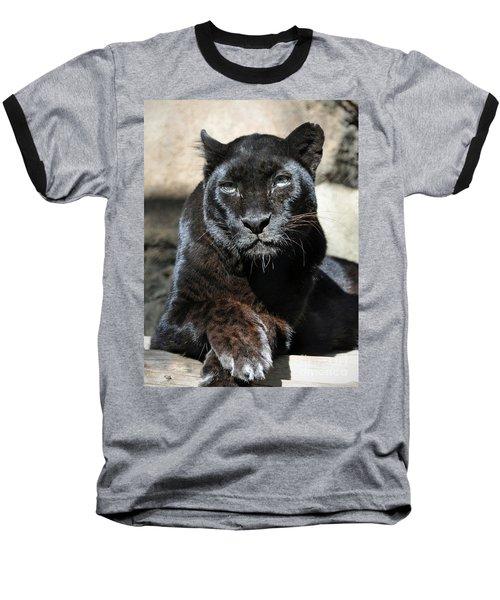 Black Leopard Baseball T-Shirt