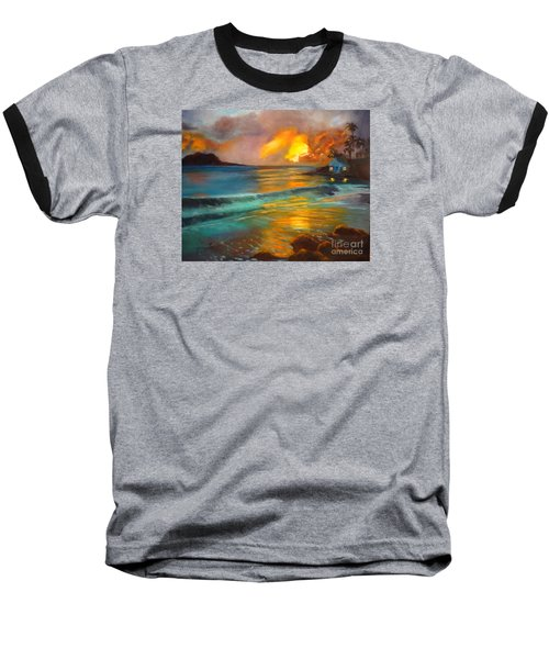 Baseball T-Shirt featuring the painting Blue Sunset by Jenny Lee