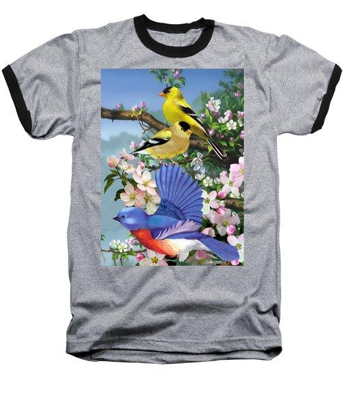 Bluebird And Goldfinch Baseball T-Shirt