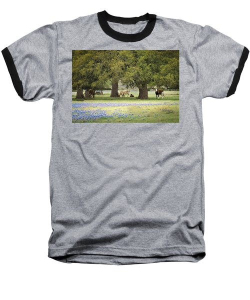 Bluebonnets And Bovines Baseball T-Shirt by Debbie Karnes